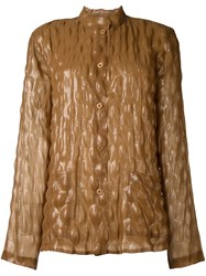 Issey Miyake Vintage Bubble Effect Top Brown