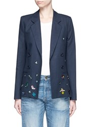 Mira Mikati Cartoon Icon Patch Cotton Linen Blazer Blue