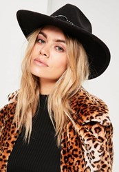 Missguided Black Studded Band Fedora