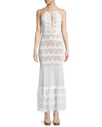 Nightcap Clothing Belle Nuit Halter Gown In Lace White