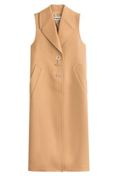 Off White Sleeveless Coat With Virgin Wool Camel