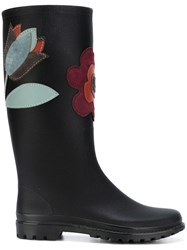 Red Valentino Flower Patch Rubber Boots Black