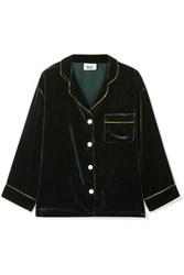 Sleepy Jones Marina Grosgrain Trimmed Velvet Pajama Shirt Emerald