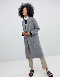 Monki Checked Tailored Coat Blue