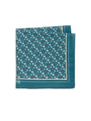 Vilebrequin Multicolor Turtle Print Silk Blend Pocket Square Teal