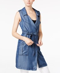 Sanctuary Chambray Long Belted Vest Tokyo Wash