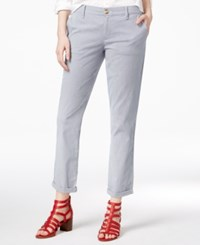 Tommy Hilfiger Hampton Pinstripe Chino Pants Only At Macy's Blue White