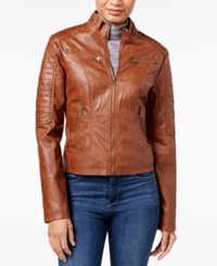 Maralyn And Me Faux Leather Moto Jacket Cognac