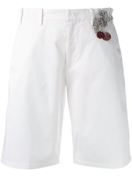N 21 No21 Cherry Patch Embellished Shorts White