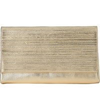 Lk Bennett Madeline Metallic Leather Clutch Bag Gol Soft Gold