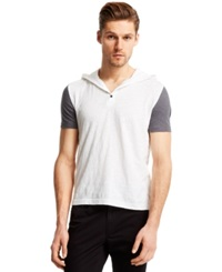 Kenneth Cole Reaction Short Sleeve Colorblocked Hoodie White