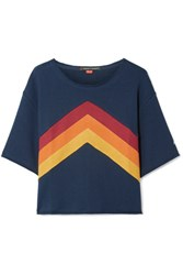Perfect Moment Cropped Paneled Cotton Jersey T Shirt Navy