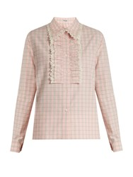 Miu Miu Jacquard Check Ruffled Cotton Shirt Light Pink