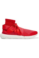 Y 3 Adidas Originals Qasa Elle Leather Trimmed Knitted Sneakers Red