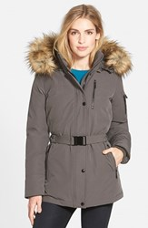 Women's Michael Michael Kors Belted Down And Feather Fill Parka With Detachable Faux Fur Trim Hood Gunmetal