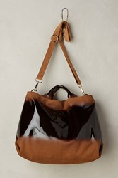 Anthropologie Vega Patent Leather Satchel Brown