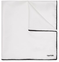 Tom Ford Contrast Tipped Silk Twill Pocket Square Ivory
