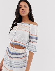 Influence Striped Bardot Crop Top Beach Co White