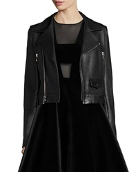 Dkny Zip Front Leather Moto Jacket Black