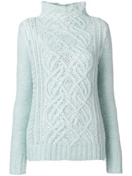 Ermanno Scervino High Neck Knit Sweater Blue