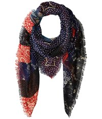 Polo Ralph Lauren Quilted Patchwork Wool Blended American Flag Scarf Dark Indigo Red Scarves Multi