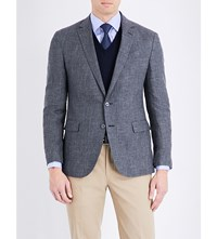Ralph Lauren Purple Label Single Breasted Linen And Wool Blend Jacket Charcoal