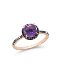 Bloomingdale's Amethyst And Black Diamond Halo Statement Ring In 14K Rose Gold Purple Black