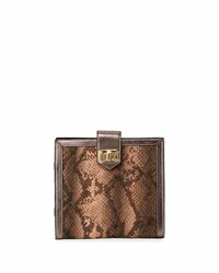 Neiman Marcus Snake Embossed Travel Jewelry Organizer Blush