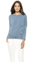 Helmut Lang Indigo Sweatshirt Top Light Indigo