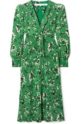 Veronica Beard Amber Floral Print Silk Blend Midi Dress Green