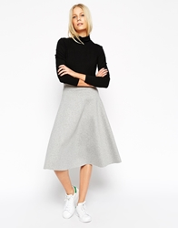 Asos Premium Full Midi Circle Skirt Grey