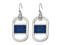 Guess Drop Earrings With Faux Python Silver Crystal Blue Earring
