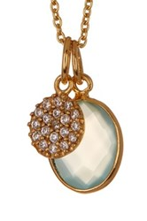Argentovivo 18K Gold Plated Sterling Silver Aqua Disc Pendant Necklace Blue