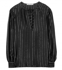 Alessandra Rich Pinstriped Silk Blouse Black