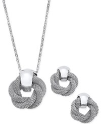 Charter Club Silver Tone Twisted Knot Pendant Necklace And Earrings Set Only At Macy's