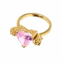 Metal Couture Rose Pink Stone Heart And Gold Roses Ring