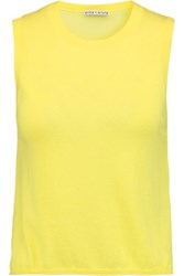 Alice Olivia Finnigan Stretch Silk Chiffon Paneled Cotton And Cashmere Blend Tank Bright Yellow