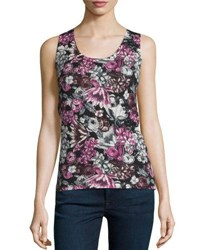 Neiman Marcus Superfine Orlag Floral Cashmere Tank Red Multi