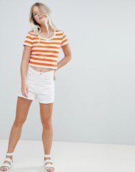 Weekday High Waist Mom Short With Raw Hem White