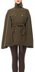 Leon Max Brushed Doubleweave Belted Cape