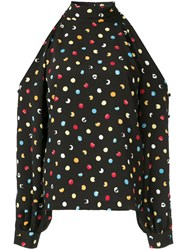 Anna October Dotted Blouse Polyester Viscose Black