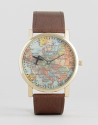 Asos Watch With Vintage Map Print With Brown Strap Brown