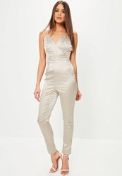 Missguided Tall Exclusive Grey Satin Wrap Cami Jumpsuit Nude