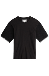 Maison Martin Margiela Cotton T Shirt With Contrast Tweed Sleeves