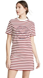 Maison Kitsune Marin T Shirt Dress Ecru Red