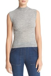 Rebecca Taylor Sleeveless Ribbed Front Pullover Gray
