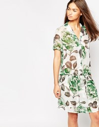 Ganni Gardena Georgette Rose Print Dress Juniper Flower Green