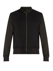 Lanvin Sateen Panelled Jersey Bomber Jacket Black Multi