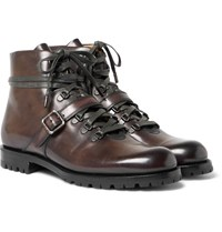 Berluti Polished Leather Boots Chocolate