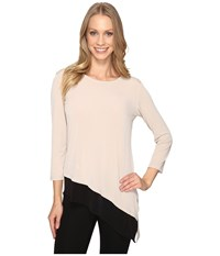 Calvin Klein Double Layered Angle Top Latte Women's Clothing Brown